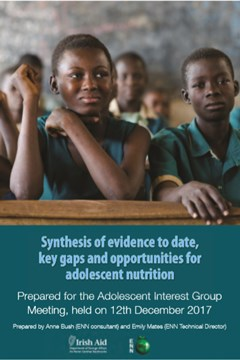 Adolescent Interest Group meeting 12th December 2017: Synthesis of evidence to date, key gaps and opportunities for adolescent nutrition