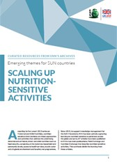 Emerging themes for SUN countries: Scaling up nutrition-sensitive activities