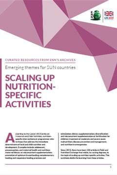Emerging themes for SUN countries: Scaling Up nutrition-specific activities