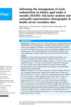 Informing the management of acute malnutrition in infants aged under 6 months (MAMI): risk factor analysis using nationally-representative demographic & health survey secondary data
