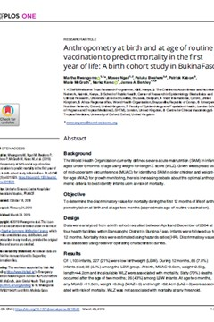 Anthropometry at birth and at age of routine vaccination to predict mortality in the first year of life: A birth cohort study in Burkina Faso