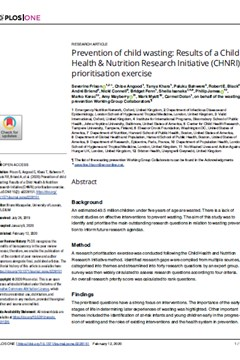 Prevention of child wasting: Results of a Child Health & Nutrition Research Initiative (CHNRI) prioritisation exercise