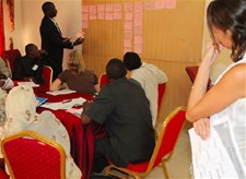 Participants are building a nutrition problem and solution tree, Niamey, Niger