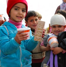 Kindergarten students receive nutritional support in Syria