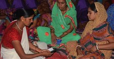 An Anganwadi Worker registering pregnant women as BCSP beneficiaries