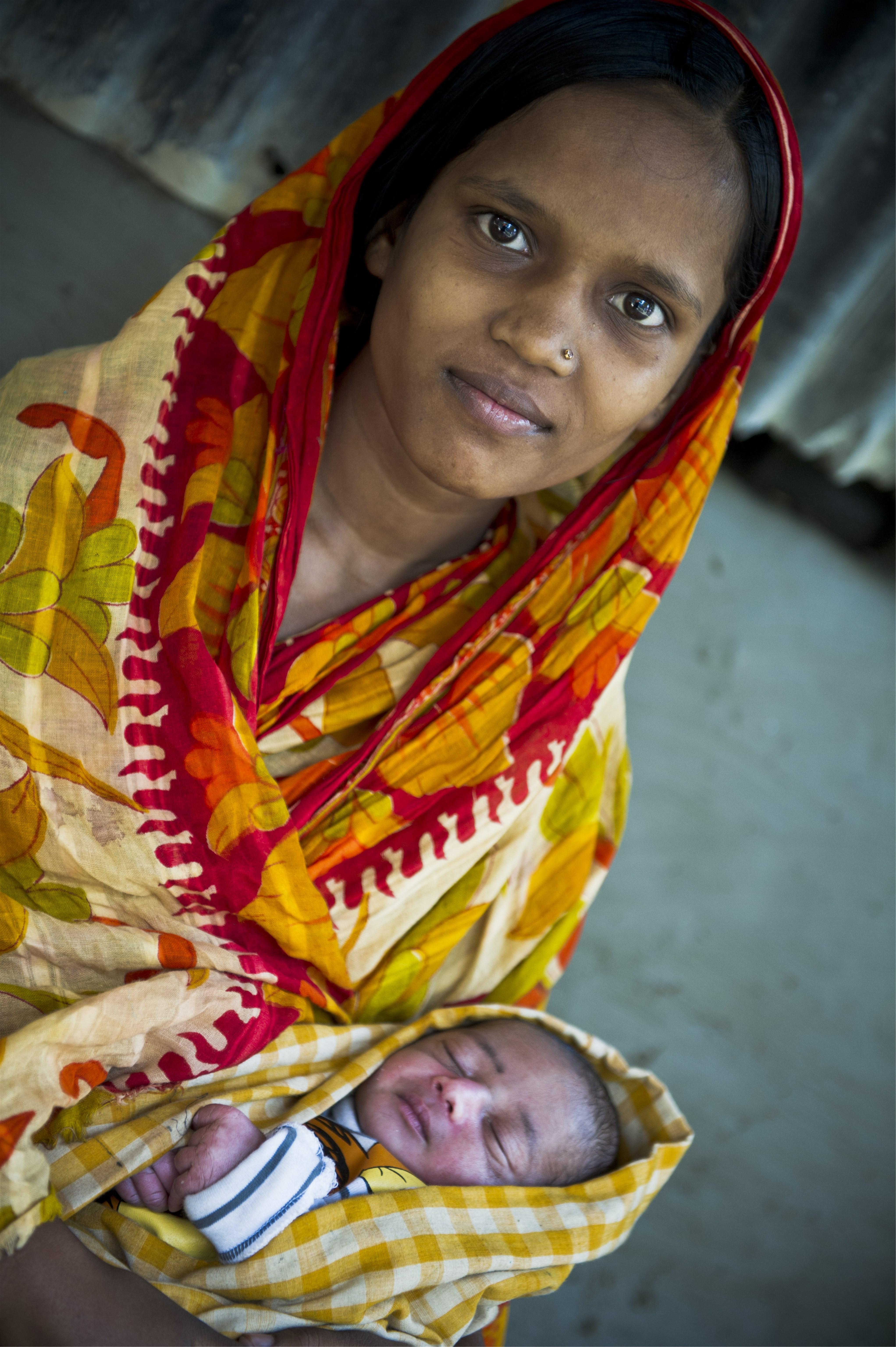 A 16 year old mother attending a nutrition programme in Bangladesh