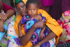 A mother and child at a clinic in Mogadishu, Somalia