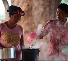 Women preparing food in Cambodia