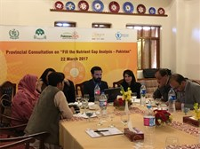 Representatives from the education sector discuss prioritisation of interventions to improve nutrition at the Balochistan Province FNG workshop in Quetta