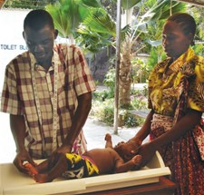 Measuring infant length, Kilifi County Hospital, Kenya