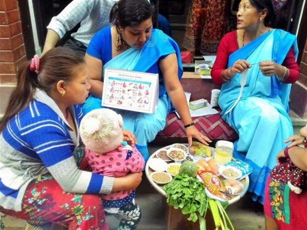 Poshan Nanglo display and utilisation by FCHVs, Tokha, Kathmandu, Nutrition Week, April 2017