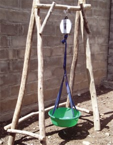 Old style wooden hanging scale stand in Mereb Lehe Woreda, Tigray Region