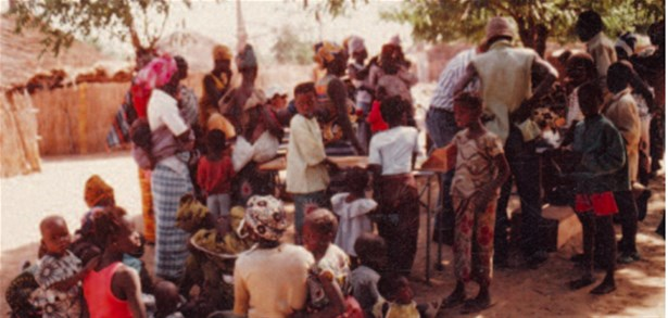 Taking anthropometric measures in a village near Niakhar, Senegal, 1983
