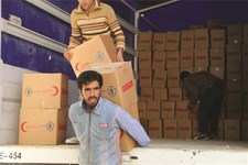 SARC volunteers at a distribution centre in rural Damascus