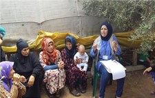 A community health worker provides an awareness session to women about breastfeeding in Akkar region