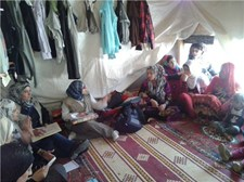 A community health worker gives a health awareness session in the Bekaa region