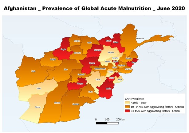 Classification based on wasting prevalence of 10% with one or more aggravating factors such as high incidence of diarrhoea, COVID-19, food insecurity (IPC phase 3 and above), conflict induced displacement and low immunization coverage.
