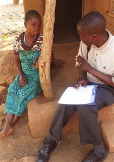 Data collector interviewing a respondent
