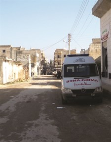 Ambulance in front of an advanced medical post supported by MSF in Idlib area, Syria